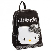 "16"" Hello Kitty Girls Black & White Zig Zag Bow School Backpack Bag"