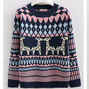 Cute Ugly Christmas Sweater Women's Winter Long Sleeve Knitted Christmas Pullover Sweater