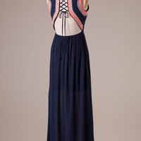 Laced Up Navy Maxi Dress