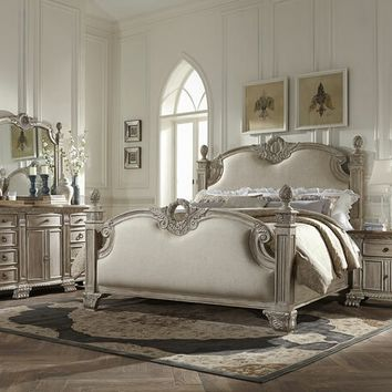 Home Elegance 2168WW-5PC 5 pc orleans collection white wash finish wood padded carved accents bedroom set