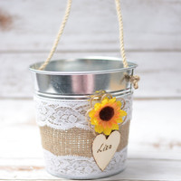 Rustic Flower Girl Bakset  Sunflower Personalized Rustic Wedding Flowergirl Basket Pail Nautical Wedding decor