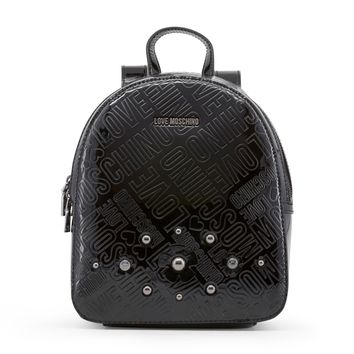 Love Moschino Black Leather Backpack