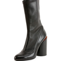 Leather Wide-Heel Show Boot, Black/Red - Givenchy