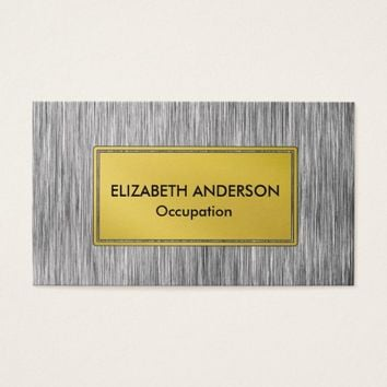 Contemporary Charcoal Faux Scratched Metal Business Card