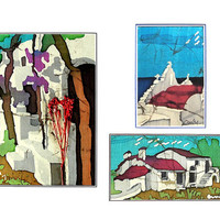 Greek Islands - Mini Collection of three batik paintings on silk - Hot Wax Technique - Art Painting -  Hand Painted Home Decor
