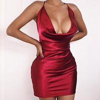 Summer Womens Sexy Satin Night Club Wear Dresses Ladies Red Spaghetti Strap V Neck Backless Mini Bodycon Dress Vestidos
