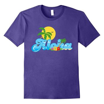 Aloha Hawaii T-shirt Hawaiian Paradise Beach Sun Sand TShirt