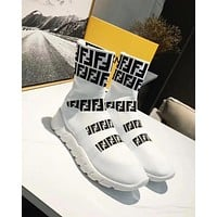 Free shipping :Fendi new tide brand knit flat bottom high men and women sports shoes white