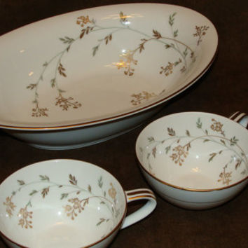 "Noritake China Oval Serving Bowl with Matching Tea Cups - Japan 5528 Tiny Gold Flowers ""Florence"""
