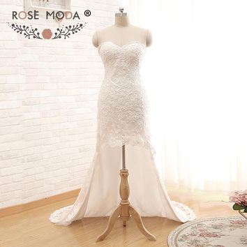 Rose Moda High Low Wedding Dress Short Front Long Back Lace Short Wedding Dresses Real Photos