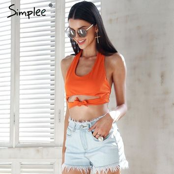 Simplee Halter backless sexy tank tops women U neck lace up white tops tees Casual stretch summer camis tank female