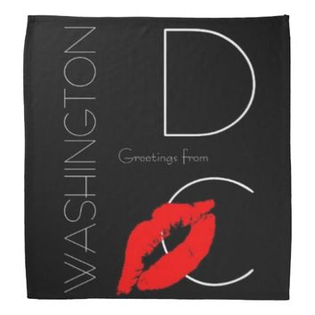 Greetings from Washington D.C. Red Lipstick Kiss Bandana