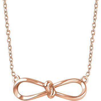 14k Yellow, White or Rose Gold Infinity Bow Necklace, 16-18 Inch