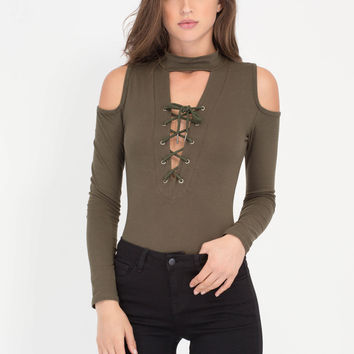 Tied And Collared Cold Shoulder Bodysuit GoJane.com