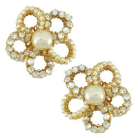 Miriam Haskell Pearl Flower Earrings | SOPHIESCLOSET.COM | Designer Jewelry & Accessories