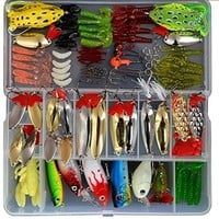 129pcs Fishing Lure Set ,Including Frog Lures, Spoon Lures, Soft Plastic Lures, Popper, Crank, Rattlin and More