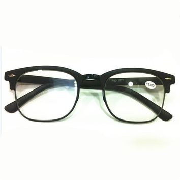 Men TR90 retro PC black square rimmed reading glasses Presbyopia 1.0 1.5 2.0 2.5 3.0 023