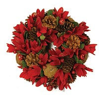 """10"""" Glittered Pine Cone Red Floral Artificial Christmas Wreath with Ornaments - Unlit"""
