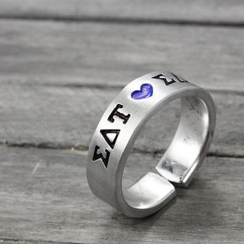 Sigma Delta Tau Ring, Sorority Ring,  Sigma Delta Tau Jewelry, Hand Stamped Ring, Personal Sorority