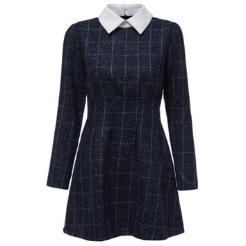 Preppy Style Peter Pan Collar Long Sleeve Plaid Print A-Line Women's Dress