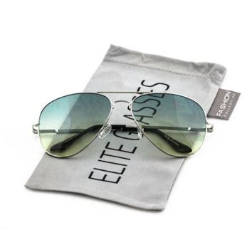 Elite Classic Retro Aviator Metal Frame Oceanic Gradient Lens Unisex Sunglasses