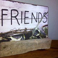 Rustic Metal Picture with Reclaimed Barn Wood Holder