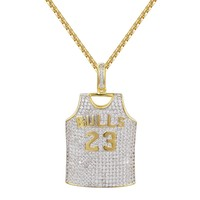 Bulls Basketball 23 Jersey Pendant 14K Gold Finish Pendant Necklace