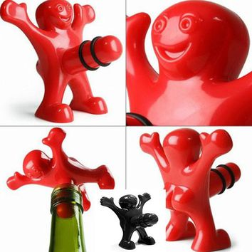 Funny Happy Man Guy Wine Stopper