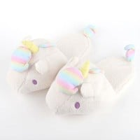 Little Twin Stars Adult Slippers: White Unicorn Medium
