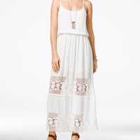 American Rag Crochet-Trim Sleeveless Maxi Dress - Juniors Dresses - Macy's