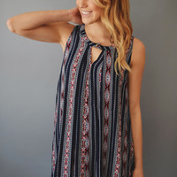 Border Print Cutout Tunic