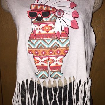 Fringe tribal bear tank top size small or medium