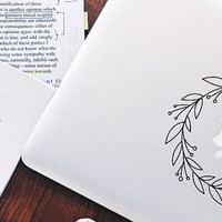 Wreath, Vinyl Decal, Flower Decal, Laptop Decal, Macbook Decal, Girly Decal, Laptop Sticker, Car Decal, Vinyl Stickers Flower Sticker