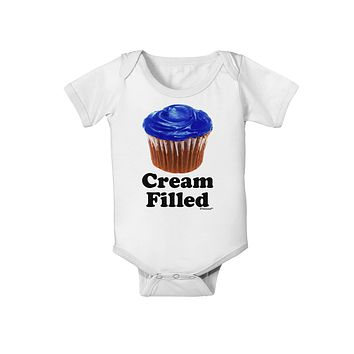 Cream Filled Blue Cupcake Design Baby Romper Bodysuit by TooLoud