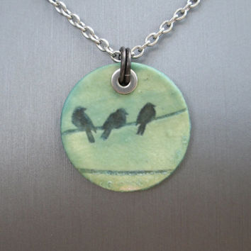 Pottery Jewelry, Ceramic Necklace, Bird On A Wire Necklace, Pottery Pendant, Pottery Necklace, Summer Necklace Aqua Necklace Stainless Steel