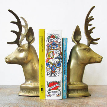 brass deer bookends / vintage deer head bookends / large brass deer bookends
