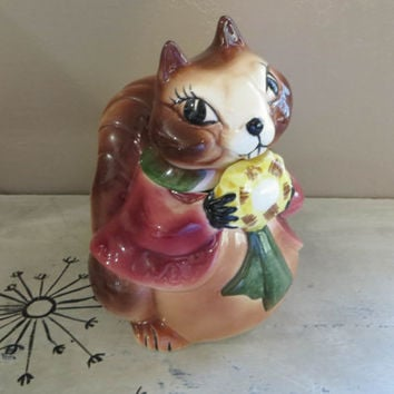 NBU Squirrel Cookie Jar Vintage Cookie Jar Sierra Vista Ceramics Cookie Jar Cookie Container Vintage Ceramics