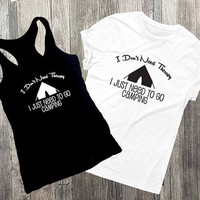 Therapy Saying, Camping Shirt, Saying on shirt, Tank top, Womens Outfit, Black VNeck Men's Shirt, Funny Graphic Tee, Summer Outfit, Tank Top