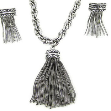 Whiting and Davis Tassel Necklace Earring Set Silver Tone Boho Chic Fashion Jewelry