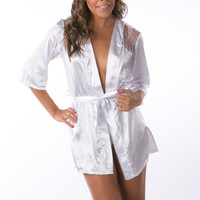 White silky bath robe wedding lingerie