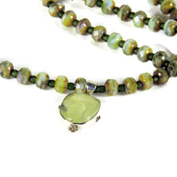 Translucent Green Pendant Prehnite Gemstone with Mossy Green Necklace of Large Beads