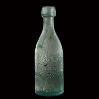 Blob Top Bottle, Antique, Aqua, M.B.& Co, 1861