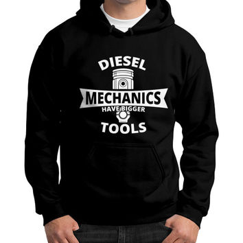 Diesel mechanics Gildan Hoodie (on man)
