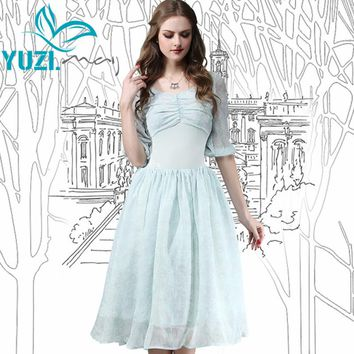 Summer Dress Vintage New Chiffon Women Dresses V-Neck High Waist Lace Patchwork Body con