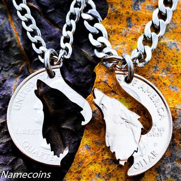 Howling Wolf relationship necklaces by Namecoins