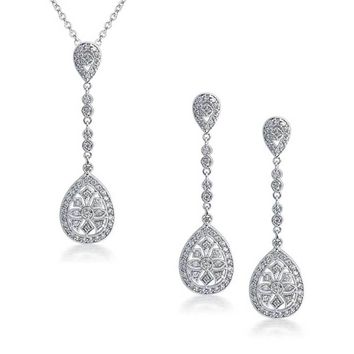 Pave Crystal Teardrop Pendant Earring Set Silver Plating Necklace
