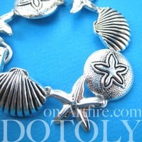 Starfish and Seashells Themed Charm Bracelet in Silver