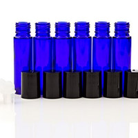Oil Roll On Bottles for Essential Oils*Includes Metal Funnel, Carrying Case and Labels* 6 Cobalt Blue Glass Bottles*10 ml*Roll On Ball Applicators*Black Caps*Make Aromatherapy Personal Blends
