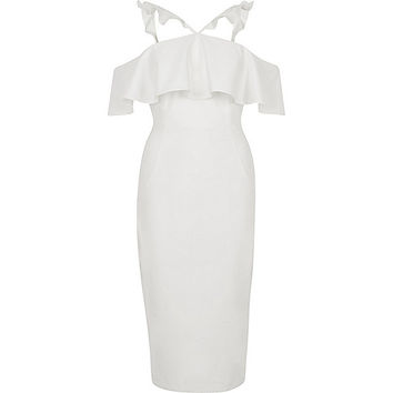 White frill cross neck bodycon midi dress