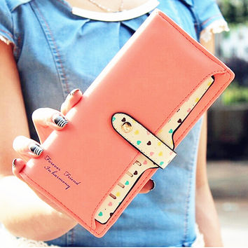 2016 New Women Wallets Color Block Dot Bow Women's Long Design Female Magic purse wallet women carteira portefeuille femme